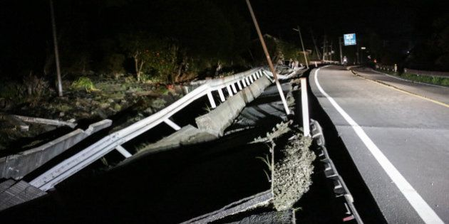 MASHIKI, JAPAN - APRIL 16: A road newly damaged by the 7.3 magnitude earthquake is seen on April 16,...