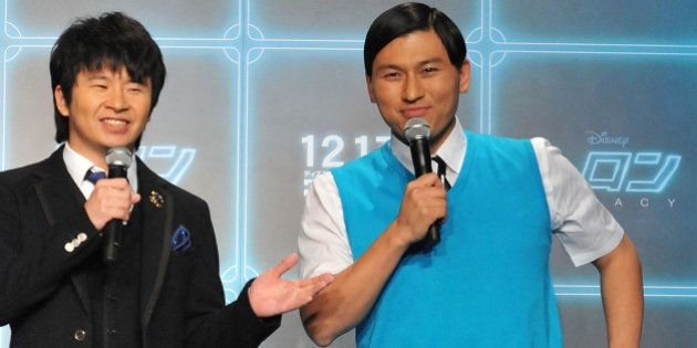 Masayasu Wakabayashi and Toshiaki Kasuga of the Comedian Audrey attend the 'Tron: Legacy 3D' Press conference...