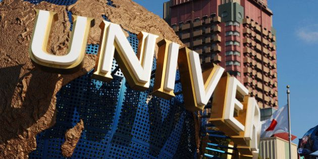 JAPAN - JANUARY 14: A model of the Universal Studios logo is displayed at the entrance to the theme park...