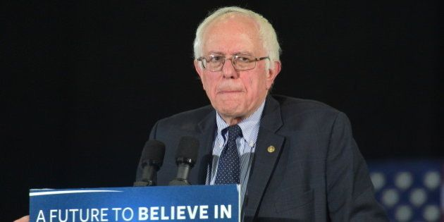 ATLANTA, GA - FEBRUARY 16: Democratic Presidentail Candidate Sen. Bernie Sanders speaks during the Bernie...