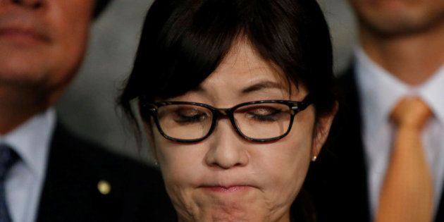 Japan's Defense Minister Tomomi Inada speaks to the media after North Korea's missile launch at the Defense...
