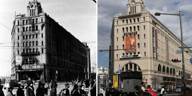 This combo of two photos shows initial destruction and reconstruction after the March 10, 1945 firebombing....