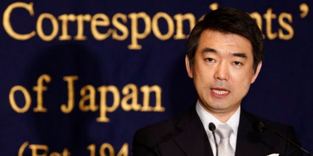 Osaka Mayor Toru Hashimoto speaks during a news conference at the Foreign Correspondents' Club of Japan...