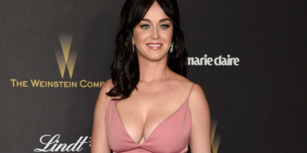Katy Perry arrives at The Weinstein Company and Netflix Golden Globes afterparty on Sunday, Jan. 10,...