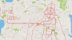 自転車で走って描いたダース・ベイダーに脱帽する【 GPS画