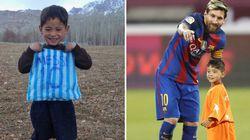 憧れのメッシと同じピッチに立ったアフガンの少年、離れたくなかったんだね(動画)