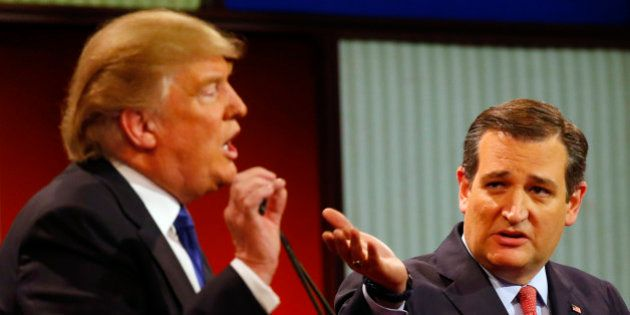 Republican presidential candidates, businessman Donald Trump and Sen. Ted Cruz, R-Texas, argue a point...