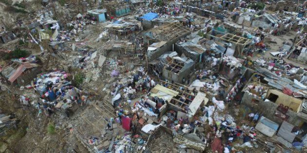 Buildings destroyed and damaged by Hurricane Matthew are seen in Jeremie, in western Haiti, on October...