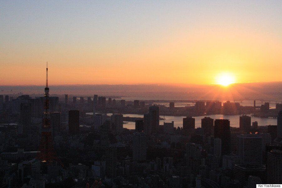 初日の出、六本木ヒルズ屋上からお届け ドラマチックに東京を照らす(動画・画像)