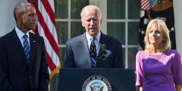 Vice President Joe Biden, accompanied by his wife Jill and President Barack Obama, announces that he...
