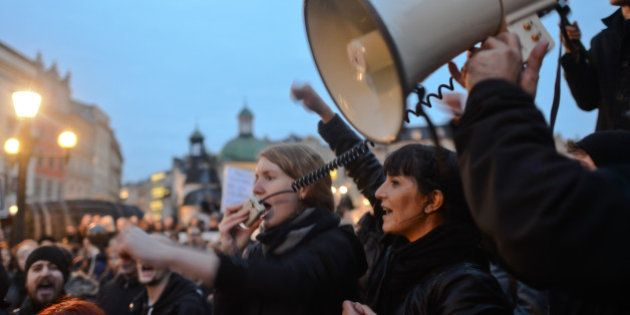 Thousands of women Pro-Choice protesters on Debnicki Square, in Krakow, during a 'Black protest'. Women...