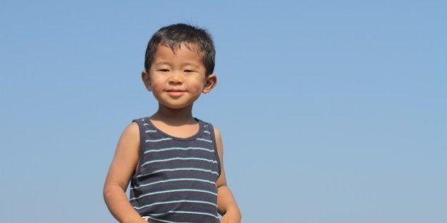 Japanese boy under the blue sky (3 years