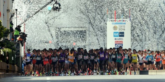 Runners start in front of the Tokyo Metropolitan Government building during the Tokyo Marathon 2016 in...