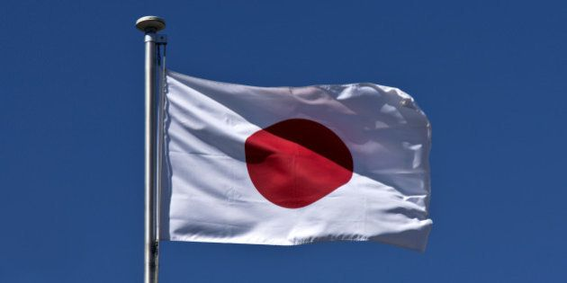 Japanese flag fluttering in the