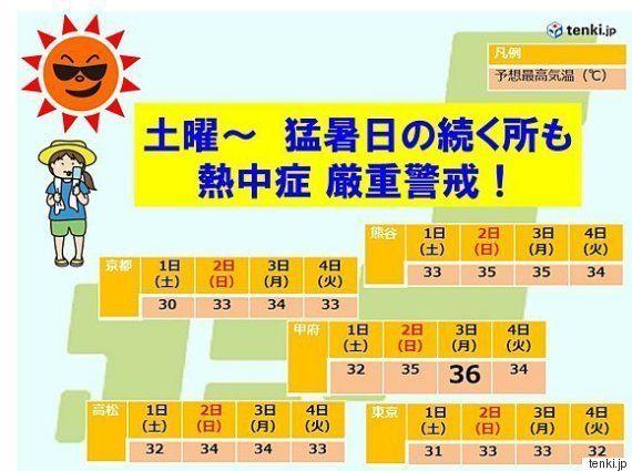 週末、今年1番の猛暑 熱中症に注意