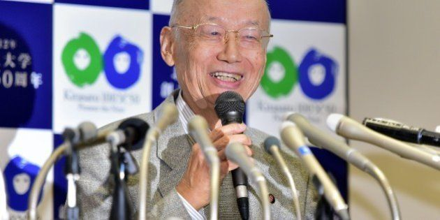 Satoshi Omura, professor of Kitasato University, speaks after winning the 2015 Nobel Prize for Medicine,...