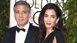 ジョージ・クルーニー、妻のアマル夫人をゴールデングローブ賞授賞式で連れ回す 妻はうんざり?(画像)
