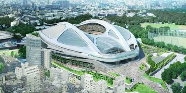 FILE - This file artist's rendering released by Japan Sport Council in July 2015 shows the image of Japan's...