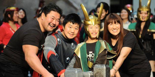 TOKYO, JAPAN - JANUARY 26: (L-R) Kensuke Sasaki, Kennosuke Sasaki, Seinosuke Sasaki and Alira Hokuto...