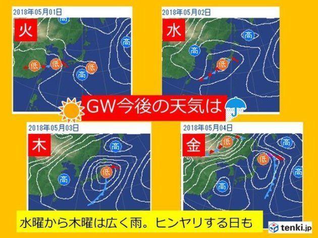 GW、お天気が崩れるのはいつから?