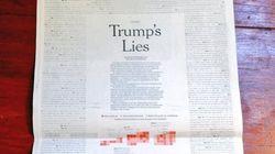 「トランプ大統領の100の嘘」ニューヨーク・タイムズの紙面を埋め尽くす