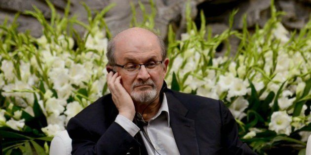Indian born British writer Salman Rushdie smiles during a talk for the XV anniversary of the 'Casa Refugio...