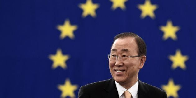 UN Secretary-General Ban Ki-moon arrives to take part in a voting session on the UN Climate Change agreement...
