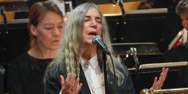 US singer Patti Smith performs 'A Hard Rain's A-Gonna Fall' by absent Literature prize winner Bob Dylan...