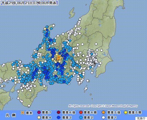 【地震情報】長野で震度5強、石川・岐阜などで震度4