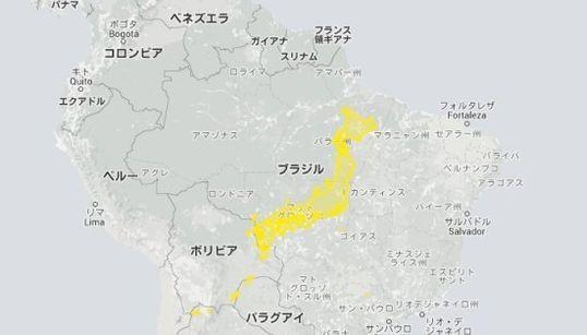 日本と他の国の大きさを比べてみよう 南米大陸に置いてみると......(地図)