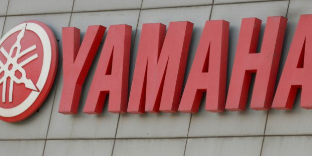 The Yamaha Motor Co. logo is displayed at the company's offices in Surajpur, India, on Thursday, June...