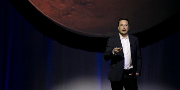 SpaceX founder Elon Musk speaks during the 67th International Astronautical Congress in Guadalajara,...