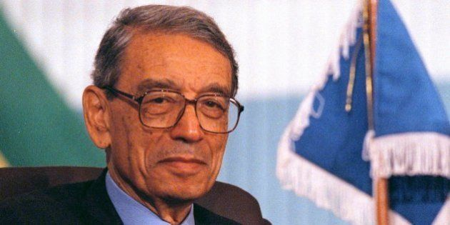 UN Secretary-General Boutros Boutros-Ghali applauds a speaker during the final day of the Organization...