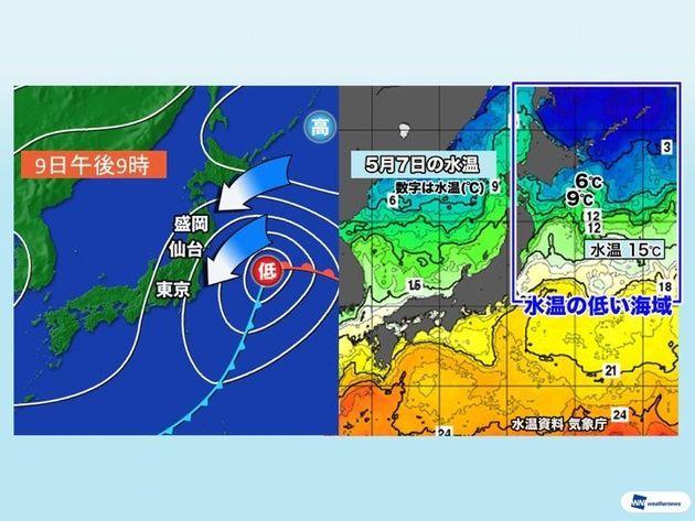 関東は5月でも肌寒くなる日がある 北東風が冷たい空気をもたらす