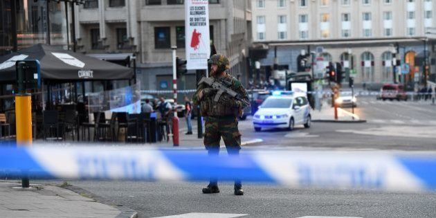 A soldier cordons off an area outside Gare Central in Brussels on June 20, 2017, after an explosion in...