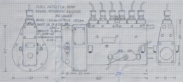 当時の燃料ポンプの寸法スケッチ