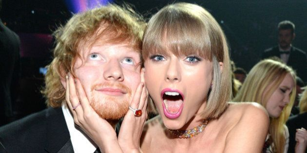 LOS ANGELES, CA - FEBRUARY 15: Ed Sheeran and Taylor Swift attends The 58th GRAMMY Awards at Staples...