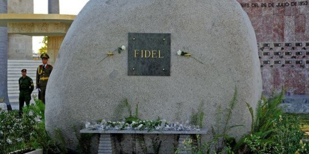 View of Fidel Castro's tomb at the Santa Ifigenia cemetery in Santiago de Cuba on December 4, 2016. Fidel...