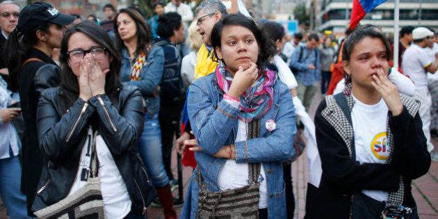 Supporters of the peace accord signed between the Colombian government and rebels of the Revolutionary...