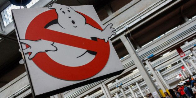 TURIN, ITALY - 2015/04/18: Coat of arms of Ghostbusters. Thousands of visitors to the twenty-first edition...