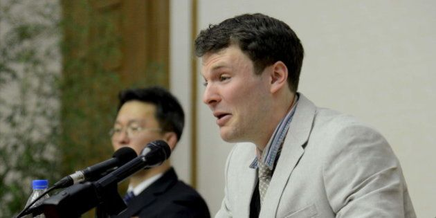 U.S. student Otto Warmbier speaks at a news conference in this undated photo released by North Korea's...