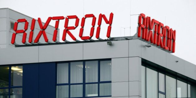 The logo of Aixtron SE is pictured on the roof of the German chip equipment maker's headquarters in Herzogenrath...