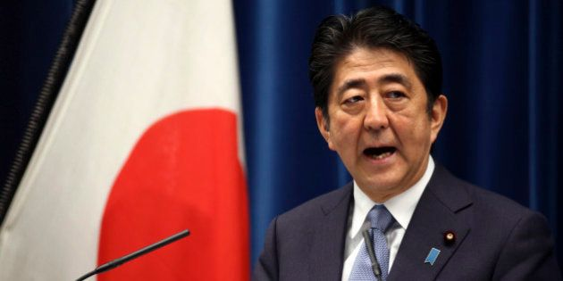 Japanese Prime Minister Shinzo Abe delivers a statement to mark the 70th anniversary of the end of World...