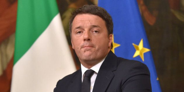 Italy's Prime Minister Matteo Renzi announces his resignation during a press conference at the Palazzo...