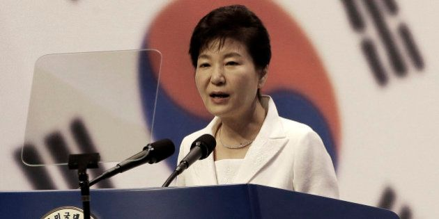 South Korean President Park Geun-hye delivers a speech during a ceremony to celebrate Korean Liberation...