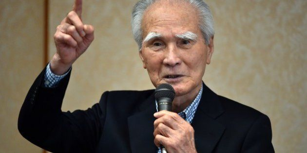 Former Japanese Prime Minister Tomiichi Murayama delivers a speech in Tokyo on May 18, 2015. Murayama,...