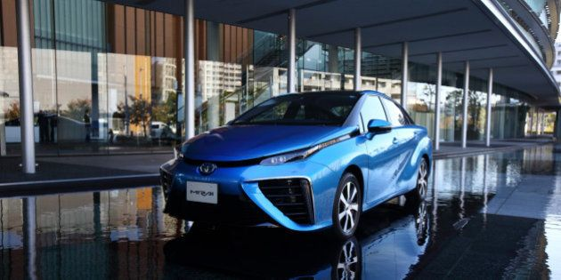A Toyota Motor Corp. Mirai fuel-cell powered vehicle is displayed during the launch event in Tokyo, Japan,...