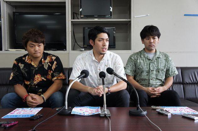 (左から)平井裕渉さん、元山仁士郎さん、瀬名波奎さん=5月18日、沖縄県庁