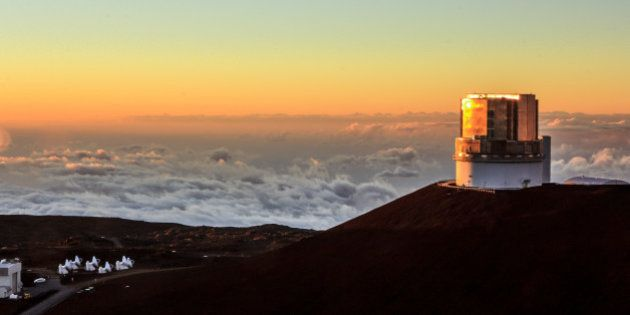 View at Sunset of the Subaru Optical IR Telescope at the Mauna Kea Observatories on the Summit on the...