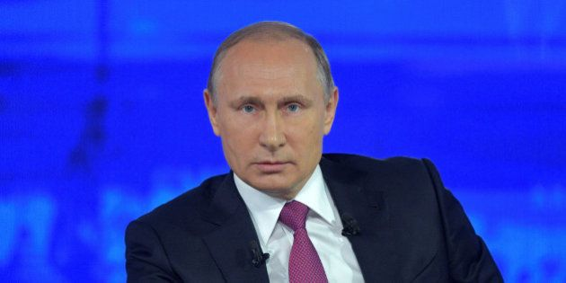 Russian President Vladimir Putin attends a live nationwide broadcasted call-in in Moscow, Russia, June...